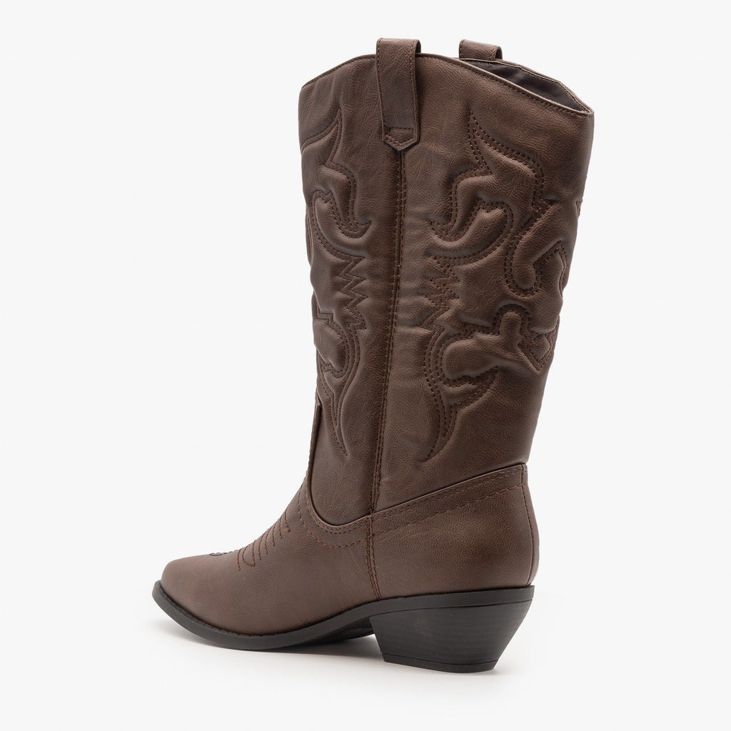 Womens Classic Embroidered Cowboy Boots - Soda Shoes