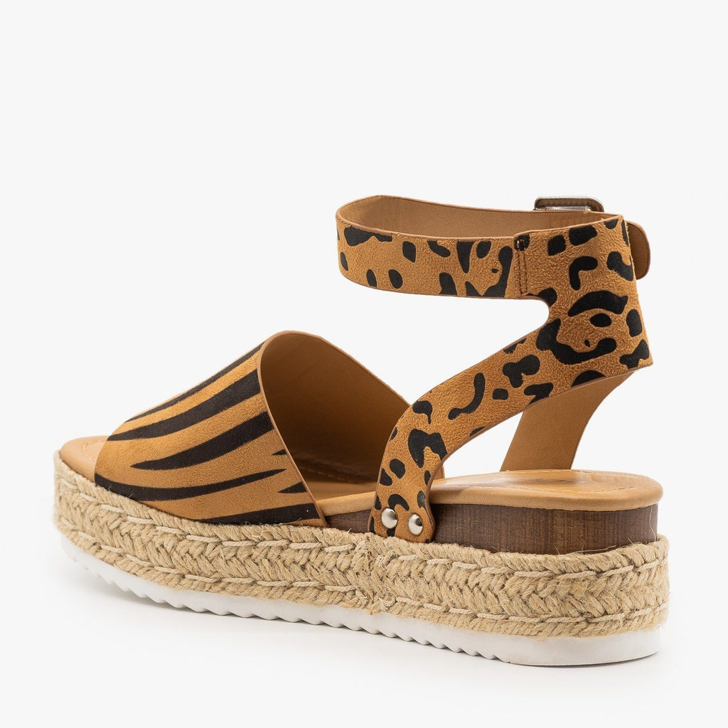 Womens Classic Espadrille Flatform Wedges - Soda Shoes