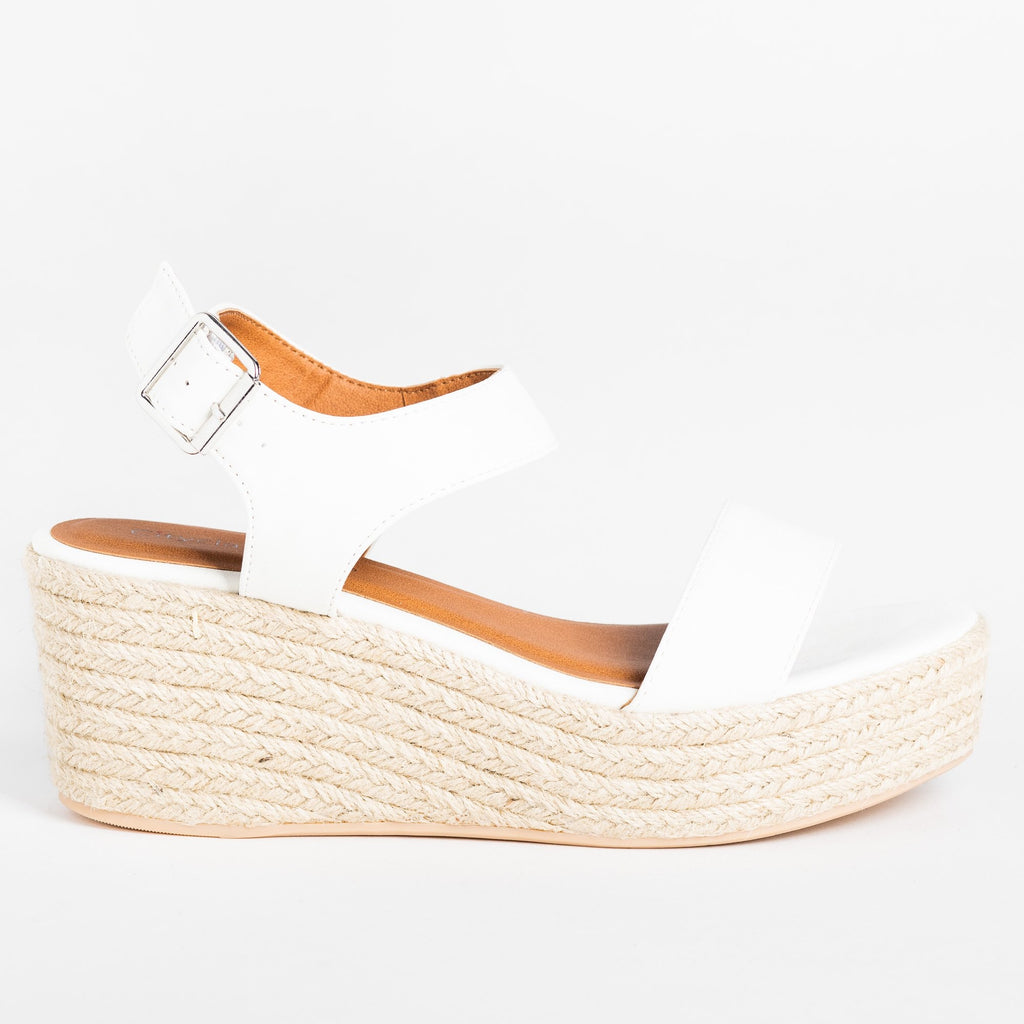 Womens Classic Espadrille Platform Sandal Wedges - Soda Shoes - Off White / 5