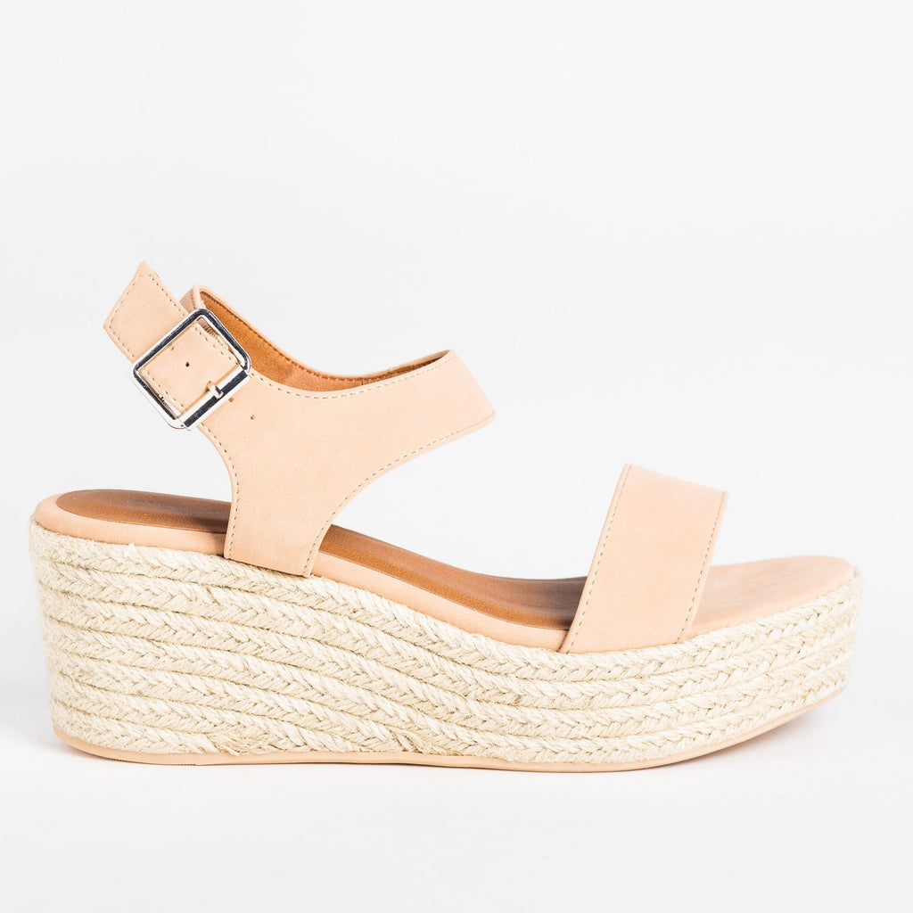Womens Classic Espadrille Platform Sandal Wedges - Soda Shoes - Dark Nude / 5