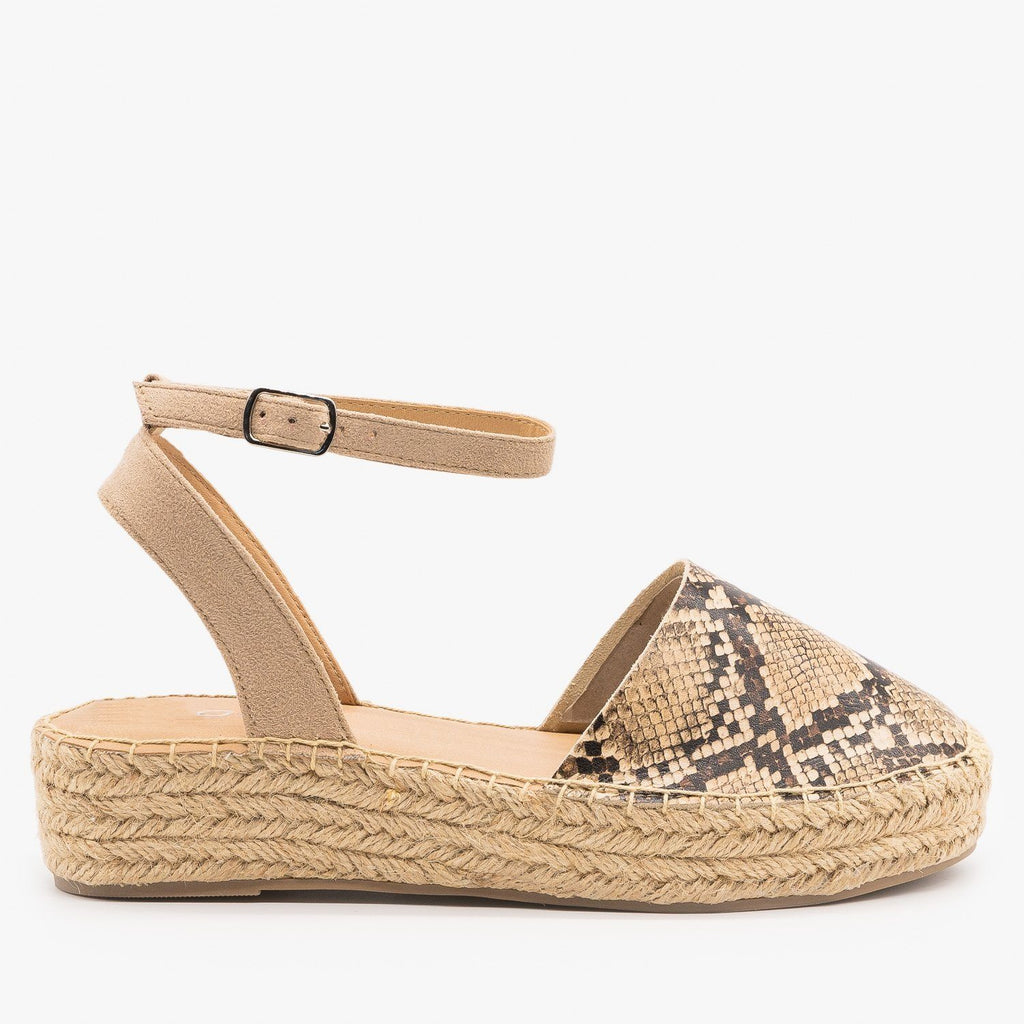 Womens Classic Espadrille Sandals - Soda Shoes - Tan Snake / 5