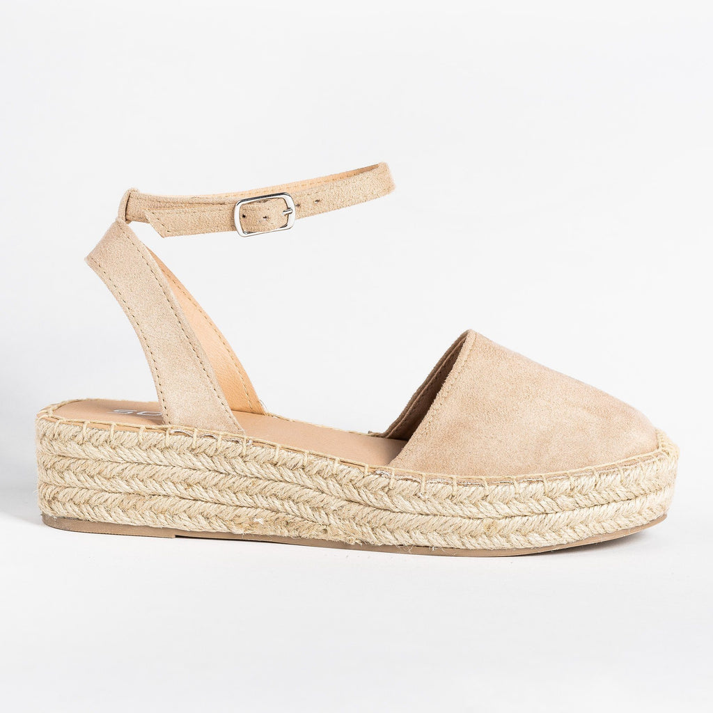 Womens Classic Espadrille Sandals - Soda Shoes - Oatmeal / 5