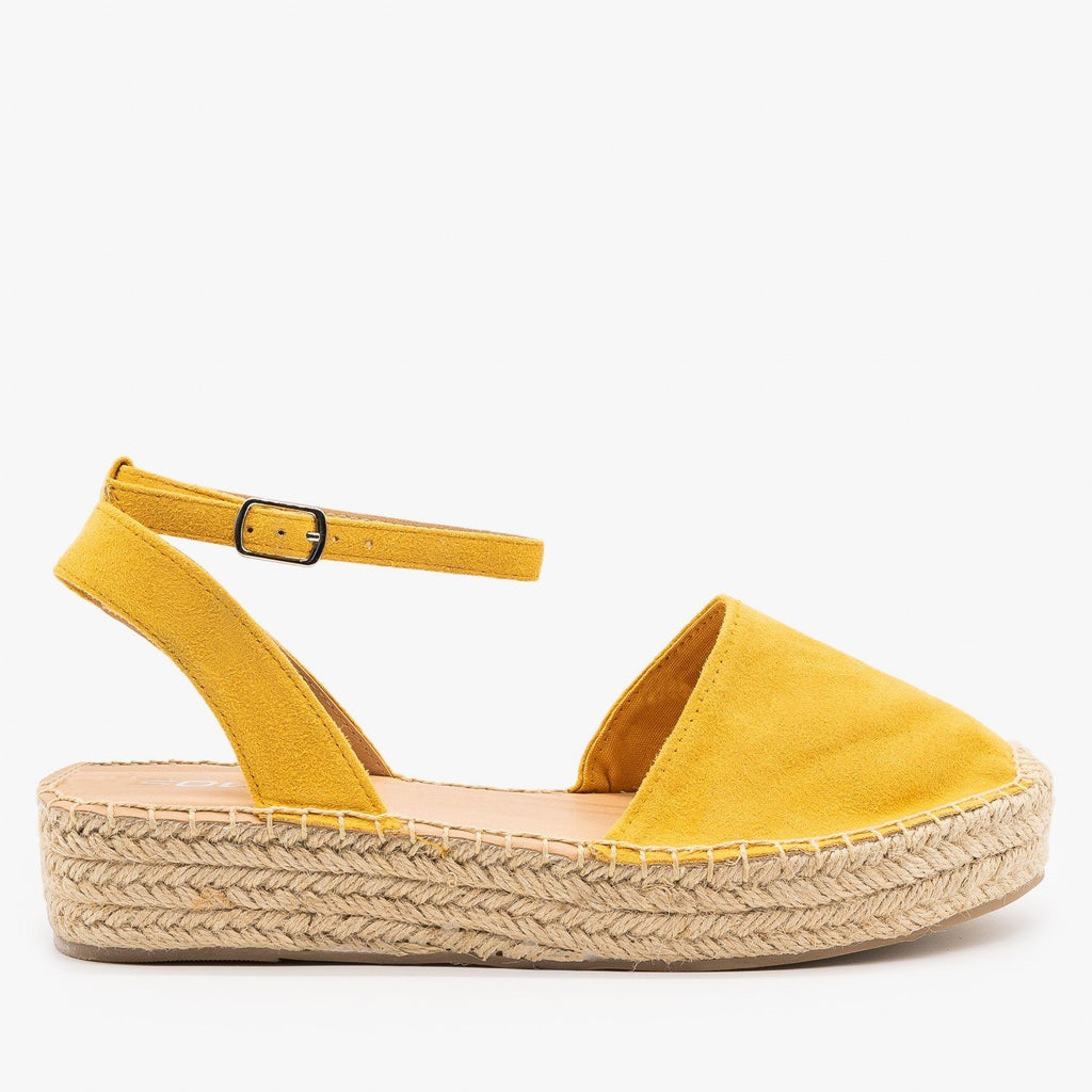Womens Classic Espadrille Sandals - Soda Shoes - Mustard / 5