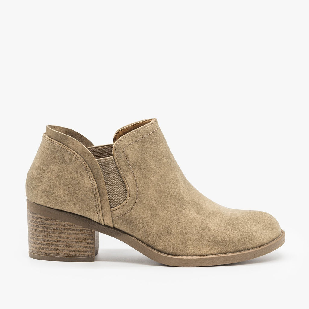 Womens Classic Everyday Ankle Booties - Qupid Shoes - Stone / 5