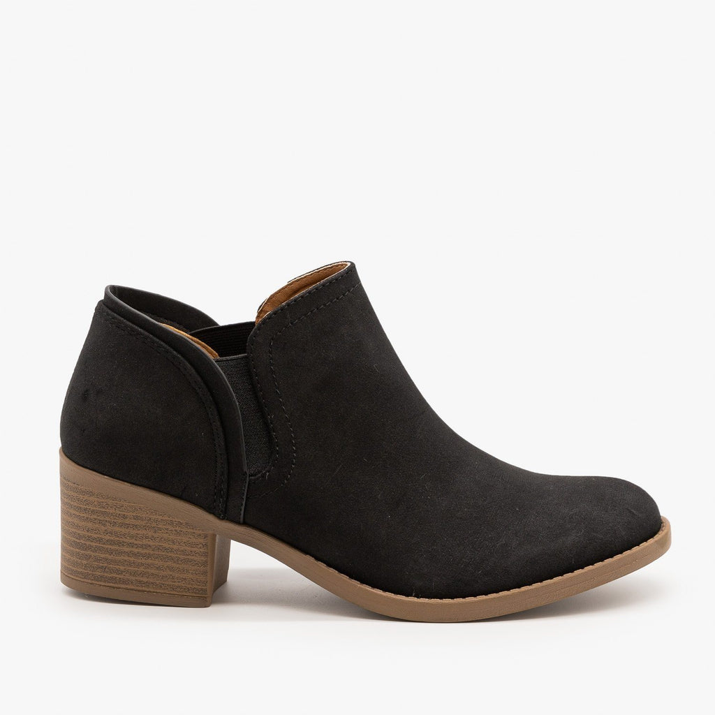Womens Classic Everyday Ankle Booties - Qupid Shoes - Black / 5