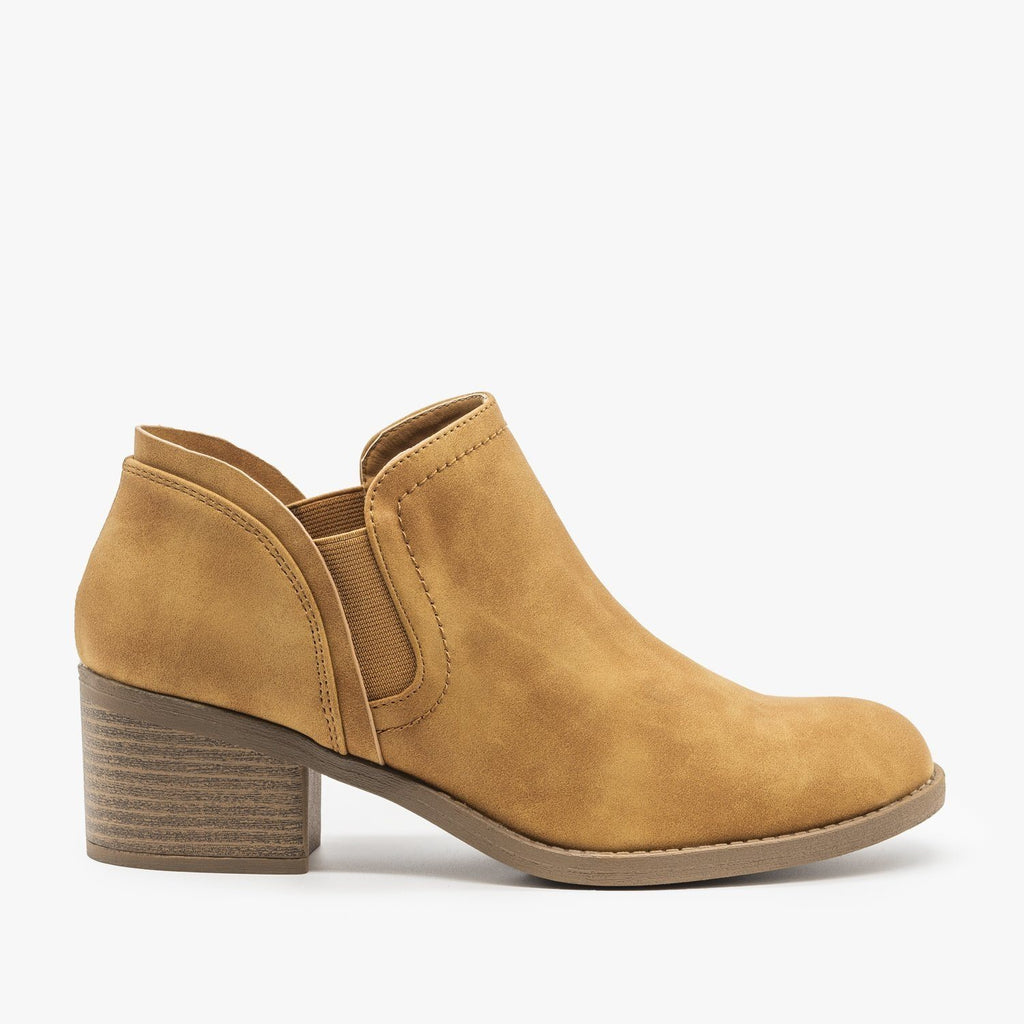 Womens Classic Everyday Ankle Booties - Qupid Shoes - Tan / 5