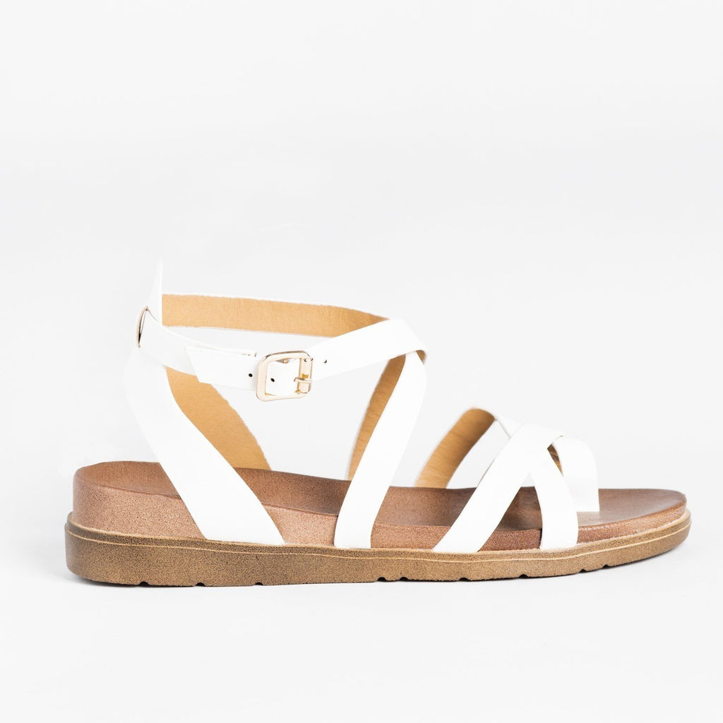 Womens Classic Everyday Strappy Sandals - Forever - White / 5