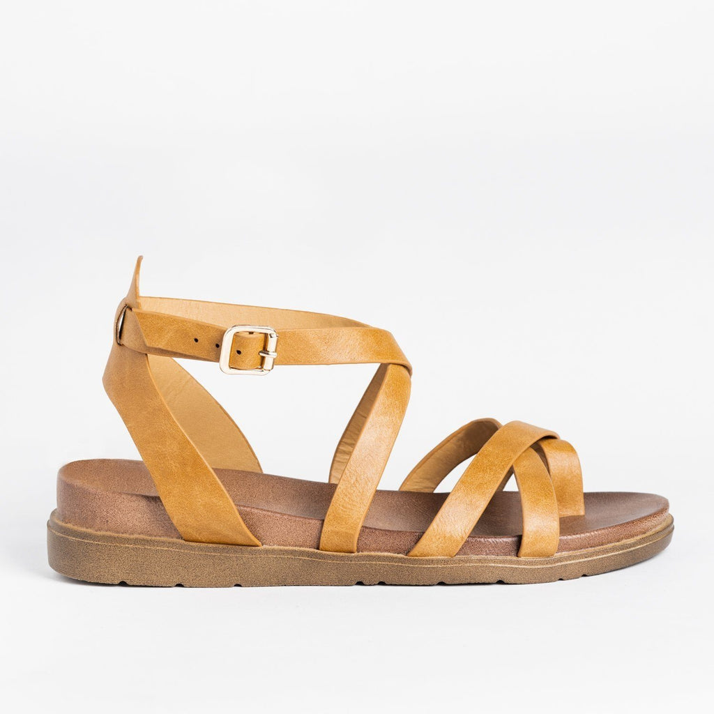 Womens Classic Everyday Strappy Sandals - Forever - Tan / 5
