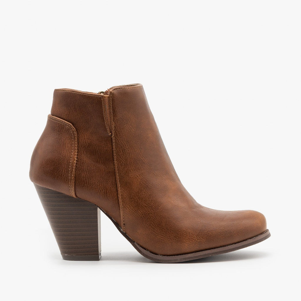 Womens Classic Fall Ankle Booties - Fashion Focus - Cognac / 5