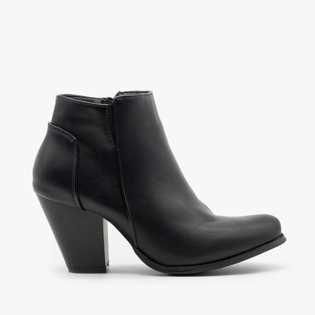 Womens Classic Fall Ankle Booties - Fashion Focus - Black / 5