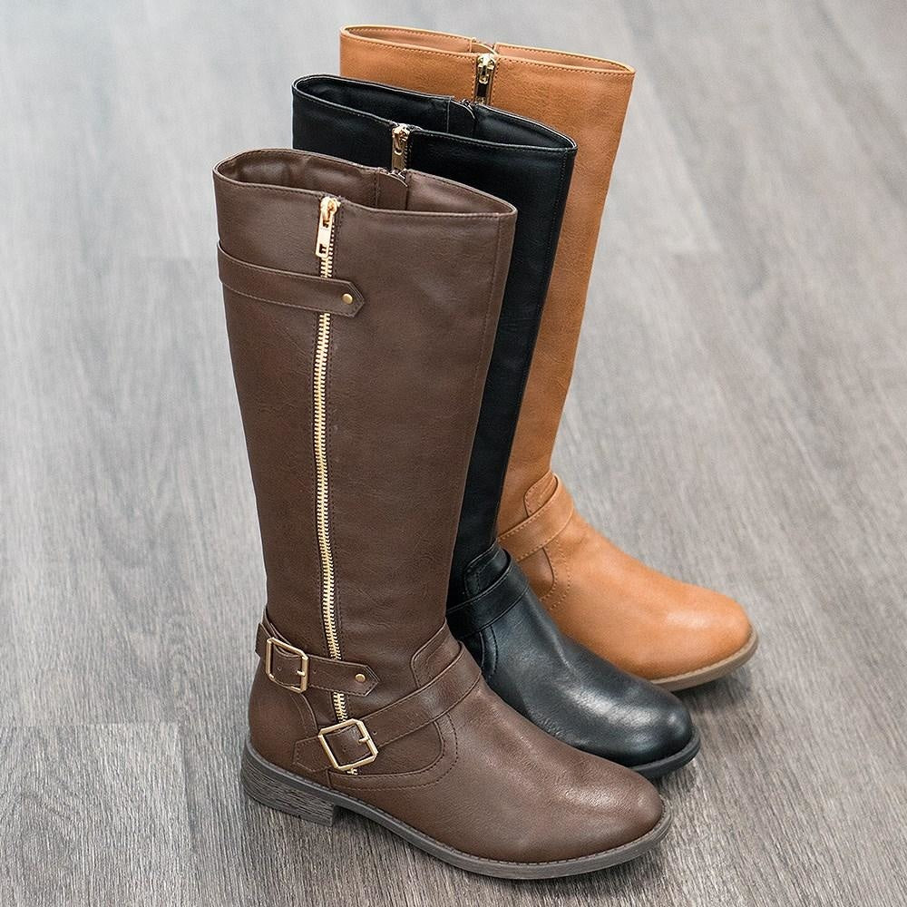 Women's Classic Fall Riding Boots - Forever - Brown / 5