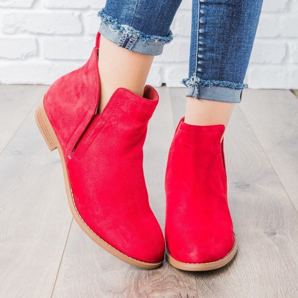 Womens Classic Faux Suede Ankle Booties - City Classified Shoes - Lipstick / 5