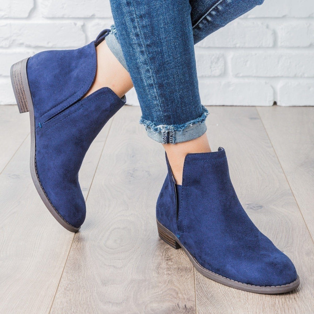 Womens Classic Faux Suede Ankle Booties - City Classified Shoes