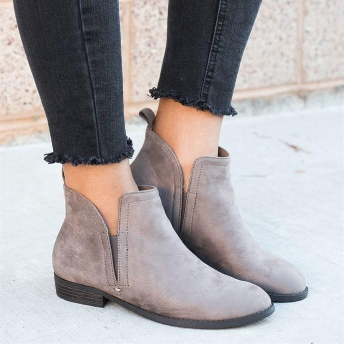 Womens Classic Faux Suede Ankle Booties - City Classified Shoes - Charcoal / 5
