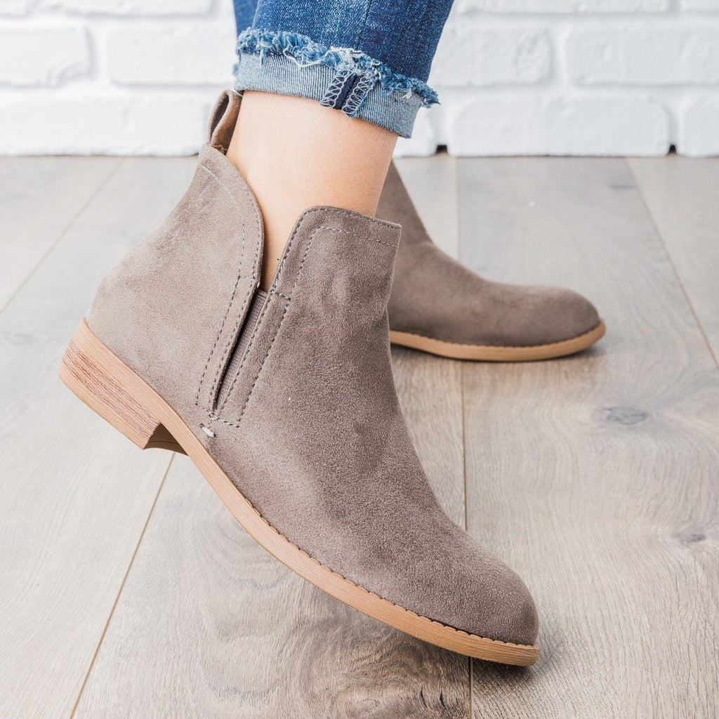 Womens Classic Faux Suede Ankle Booties - City Classified Shoes - Smokey Taupe / 5