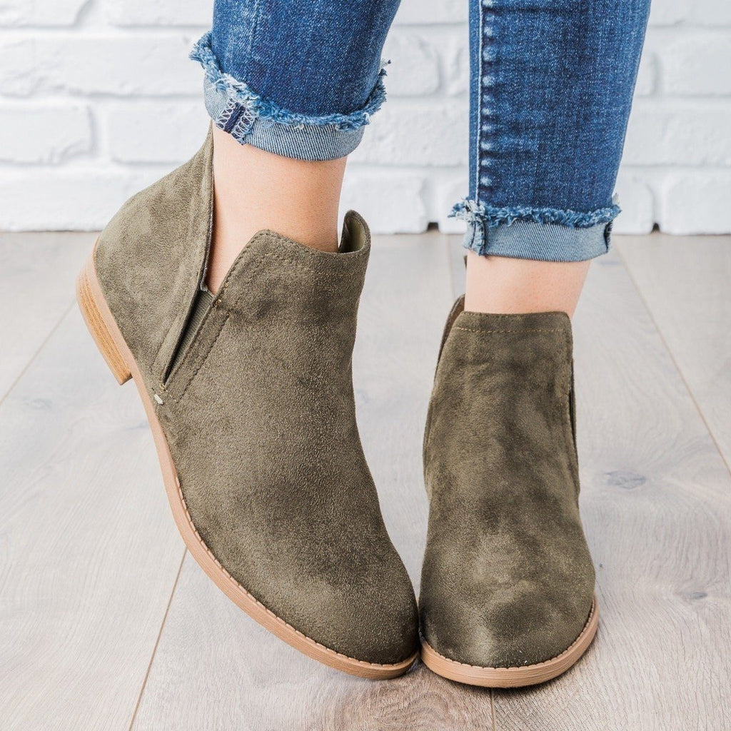 Womens Classic Faux Suede Ankle Booties - City Classified Shoes - Khaki / 5