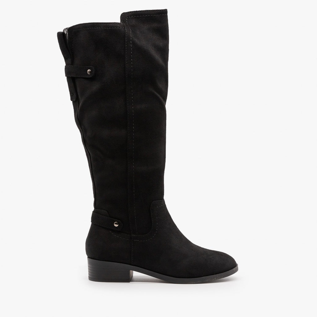 Womens Classic Faux Suede Riding Boots - Soda Shoes - Black / 5