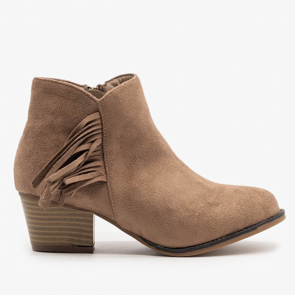 Womens Classic Fringe Booties - Bella Marie - Taupe / 5
