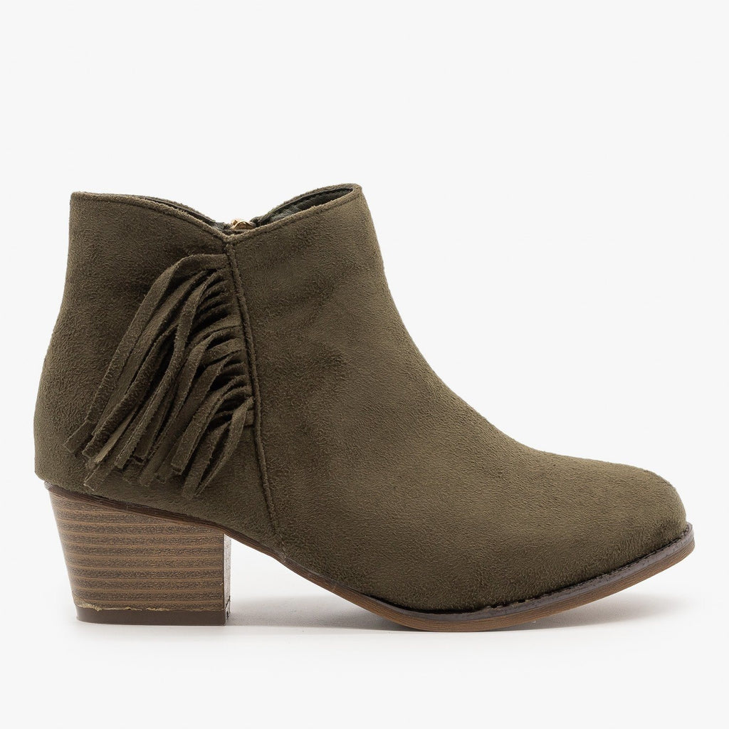 Womens Classic Fringe Booties - Bella Marie - Olive / 5