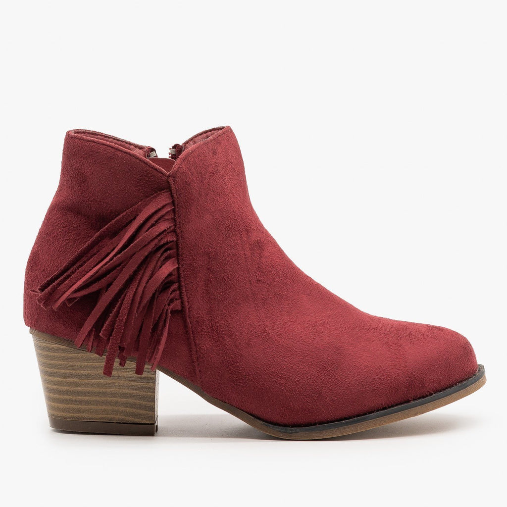 Womens Classic Fringe Booties - Bella Marie - Wine / 5
