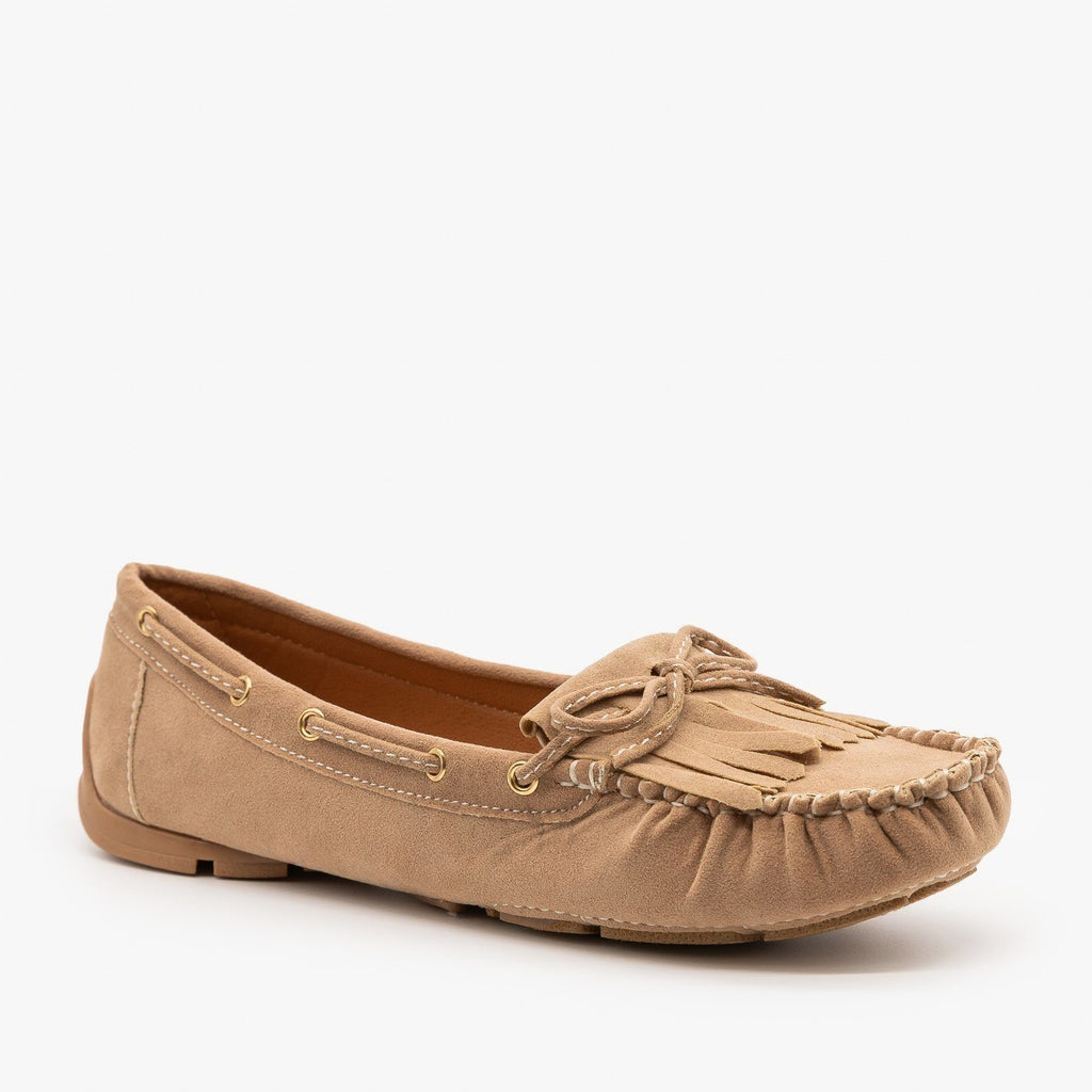 Womens Classic Fringe Moccasin Flats - Forever - Taupe / 5