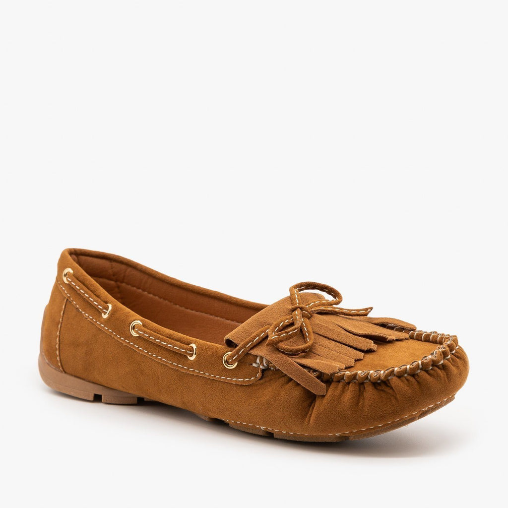 Womens Classic Fringe Moccasin Flats - Forever - Tan / 5