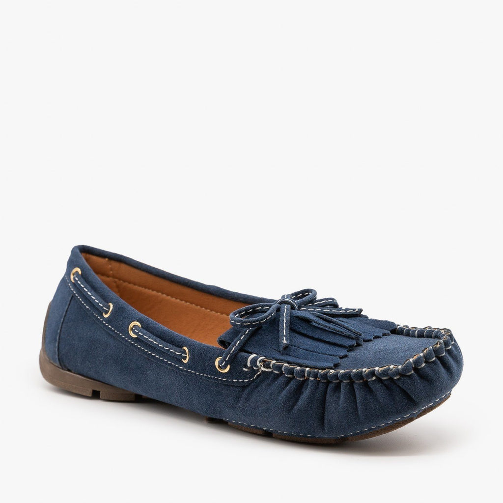Womens Classic Fringe Moccasin Flats - Forever - Navy / 5