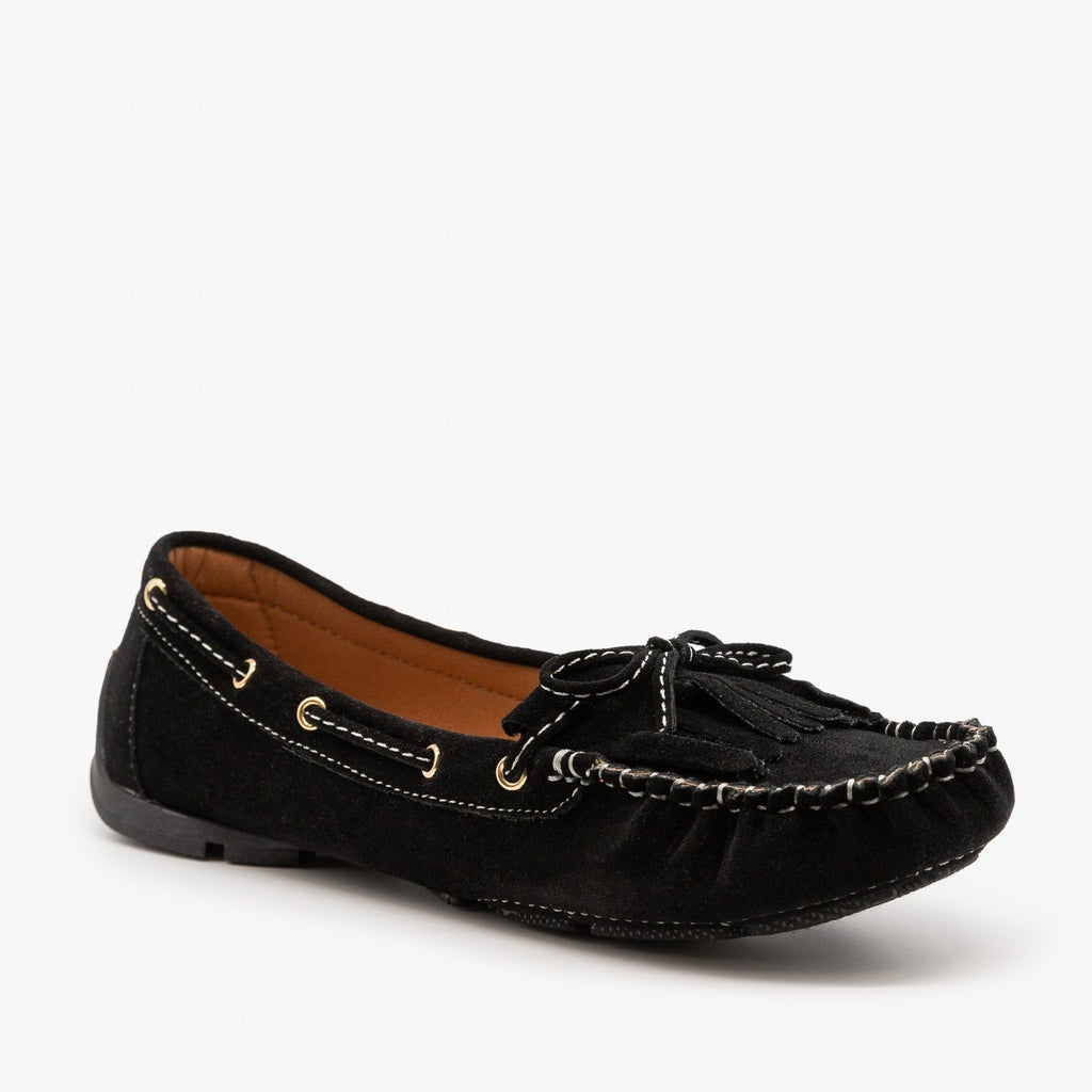Womens Classic Fringe Moccasin Flats - Forever - Black / 5