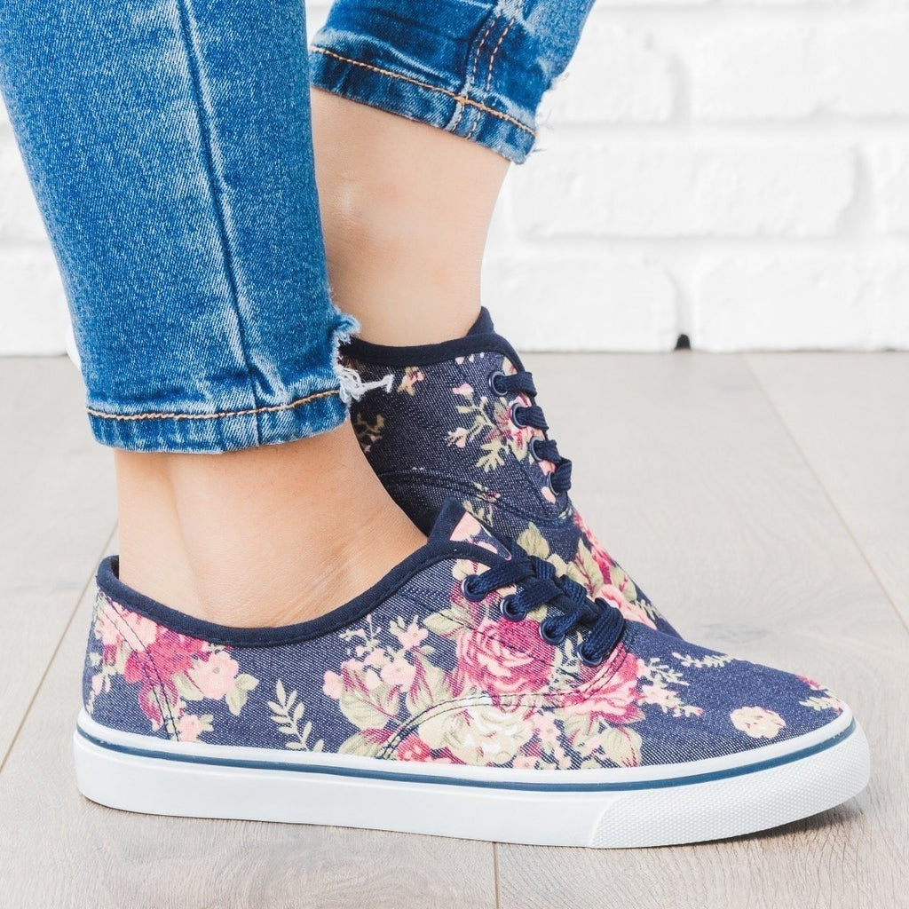 Womens Classic Lace-Up Fashion Sneakers - Unbranded/Generic - Dark Denim Flower / 5