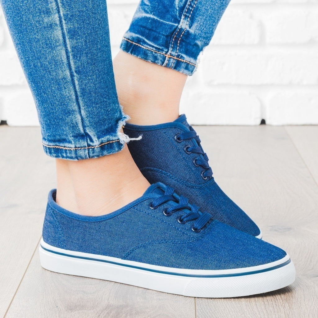 Womens Classic Lace-Up Fashion Sneakers - Unbranded/Generic - Denim / 5