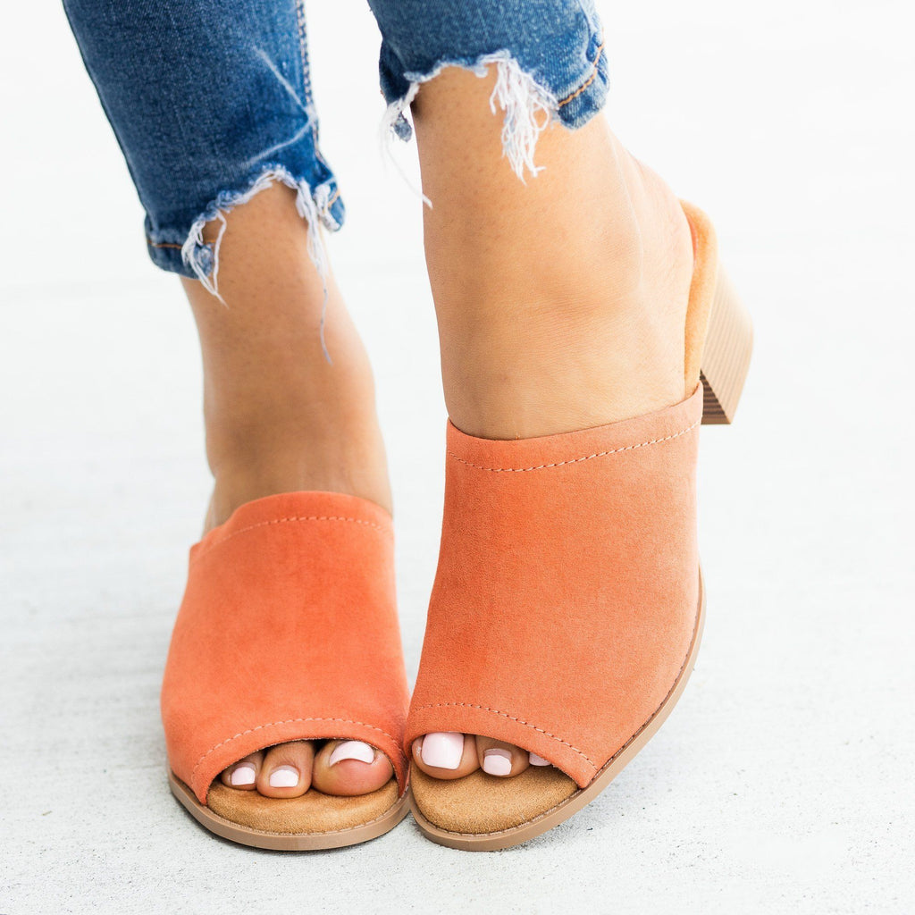 Womens Classic Peep-Toe Mule Heels - Qupid Shoes - Ash Coral / 5
