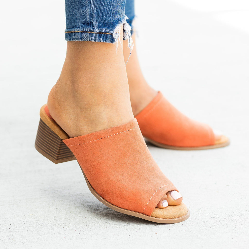 Womens Classic Peep-Toe Mule Heels - Qupid Shoes