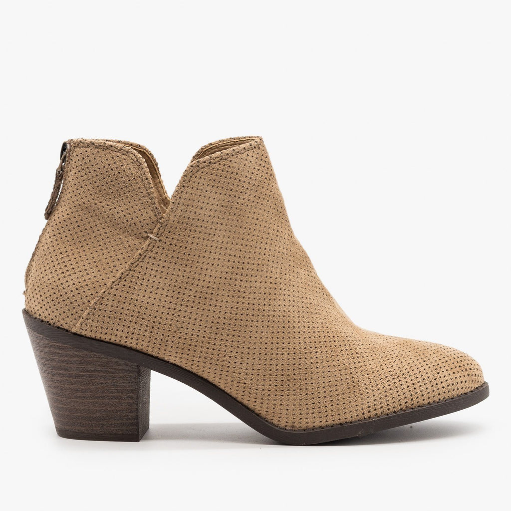 Womens Classic Pinhole Ankle Booties - Mata - Taupe / 5