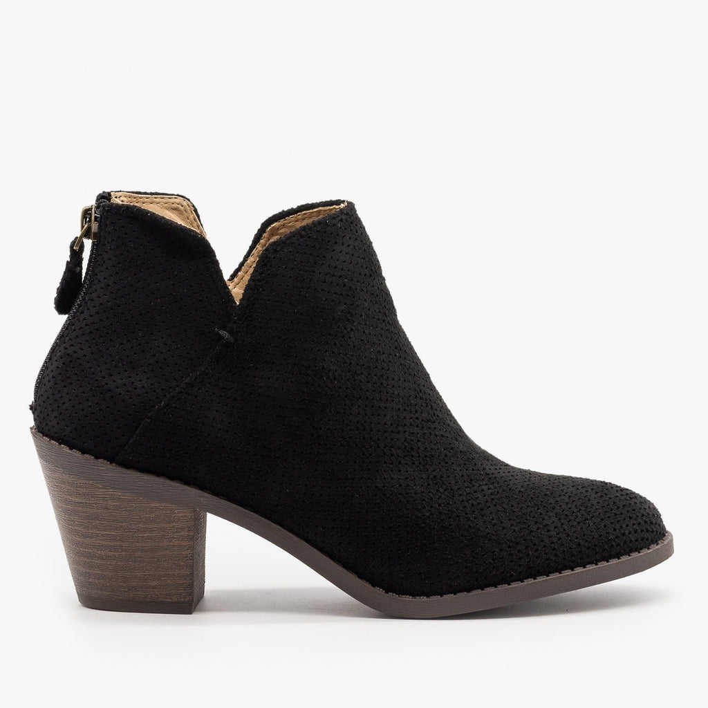 Womens Classic Pinhole Ankle Booties - Mata - Black / 5