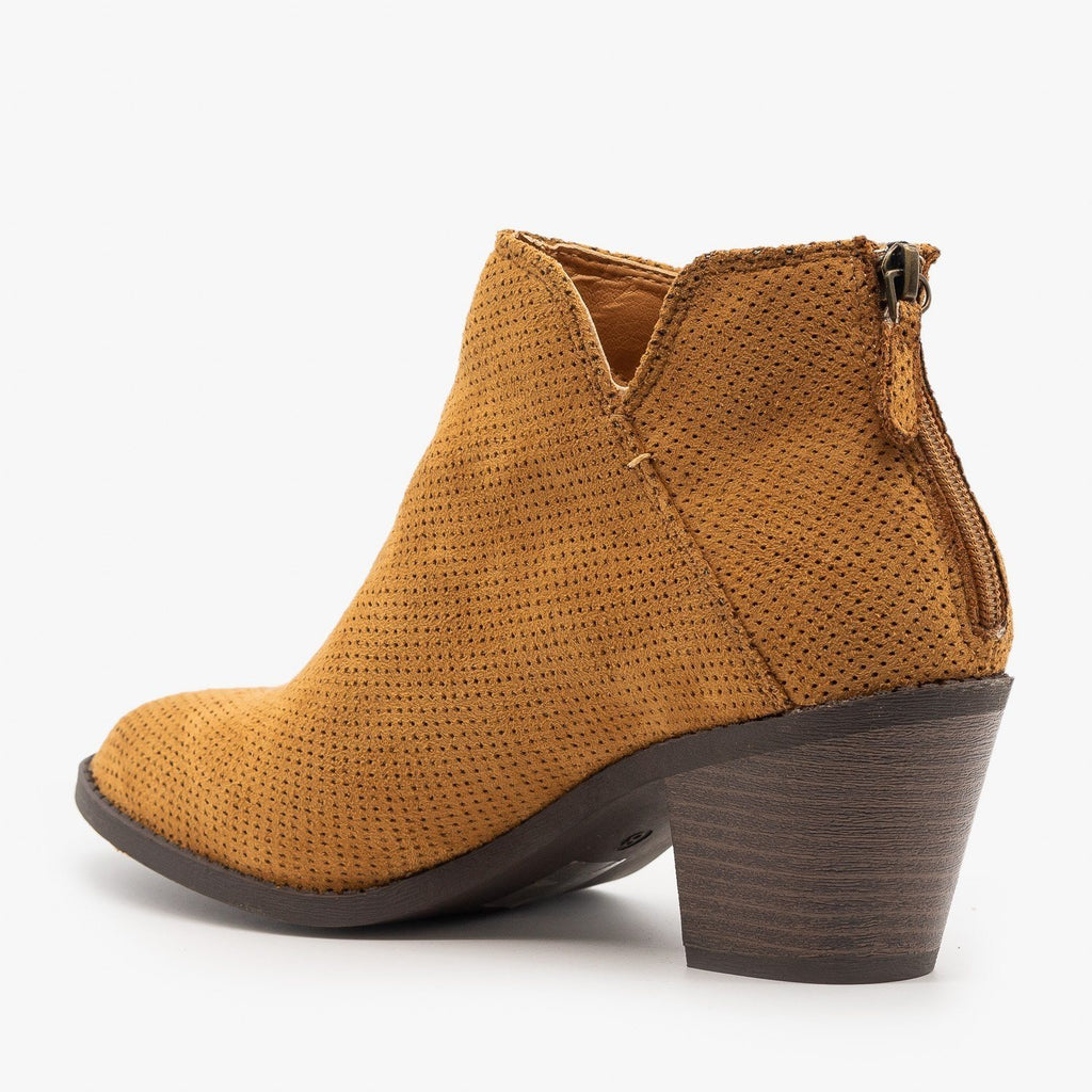 Womens Classic Pinhole Ankle Booties - Mata