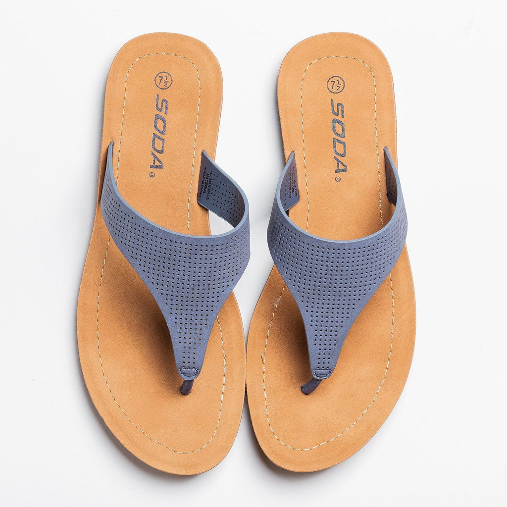 Womens Classic Pinhole Thong Sandals - Soda Shoes - Blue / 5