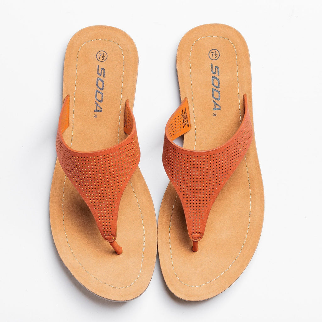Womens Classic Pinhole Thong Sandals - Soda Shoes - Burnt Orange / 5