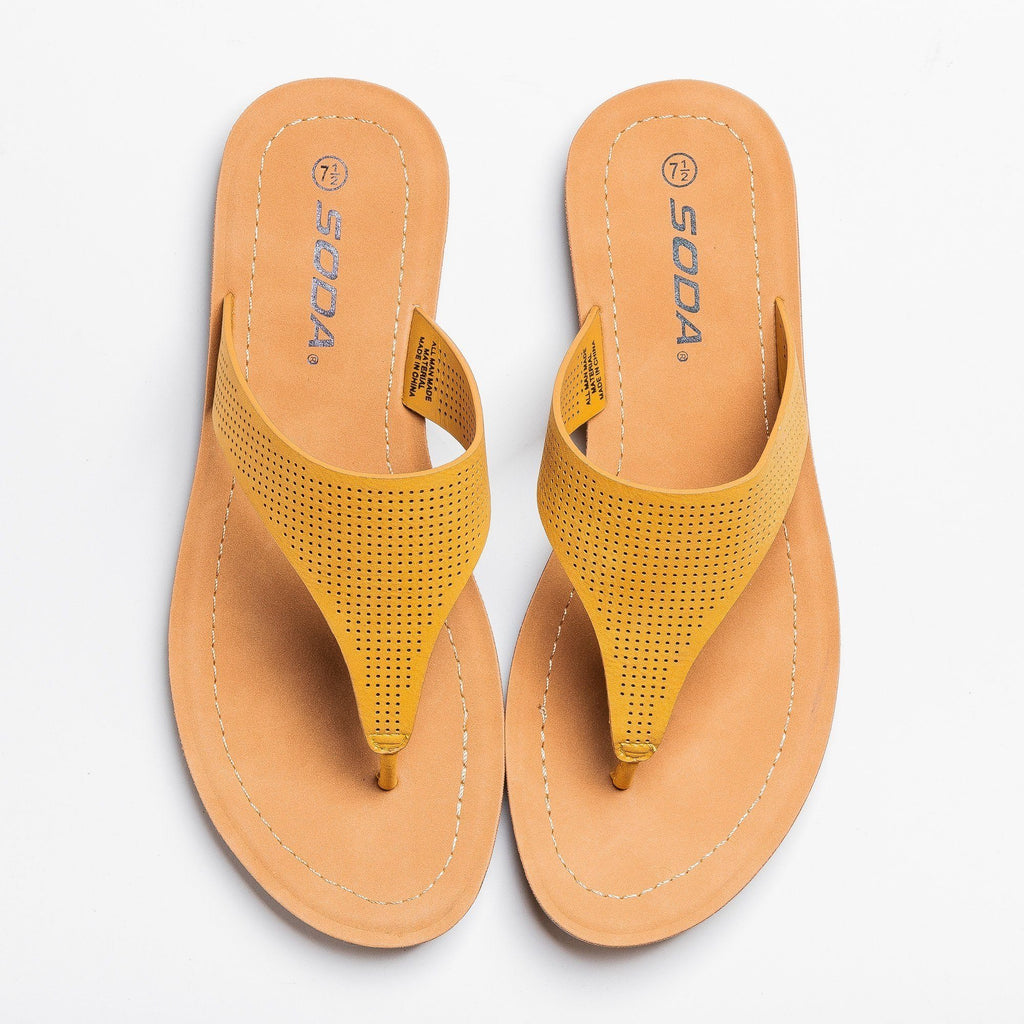Womens Classic Pinhole Thong Sandals - Soda Shoes - Mustard / 5