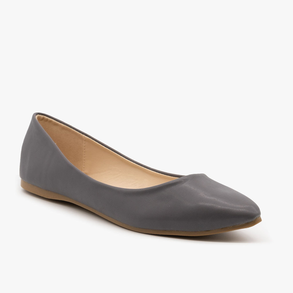 Womens Classic Pointed Toe Ballet Flats - Bella Marie - Gray / 5