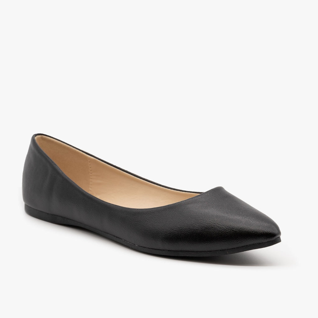 Womens Classic Pointed Toe Ballet Flats - Bella Marie - Black / 5