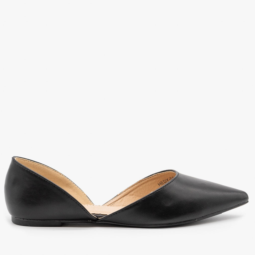 Womens Classic Pointed Toe dOrsay Flats - Refresh - Black / 5