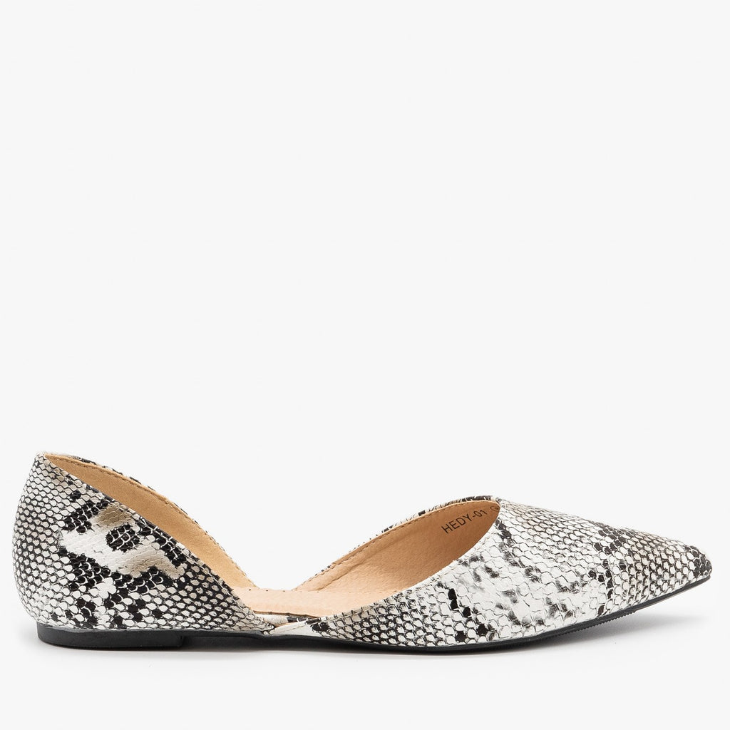 Womens Classic Pointed Toe dOrsay Flats - Refresh - Snake / 5