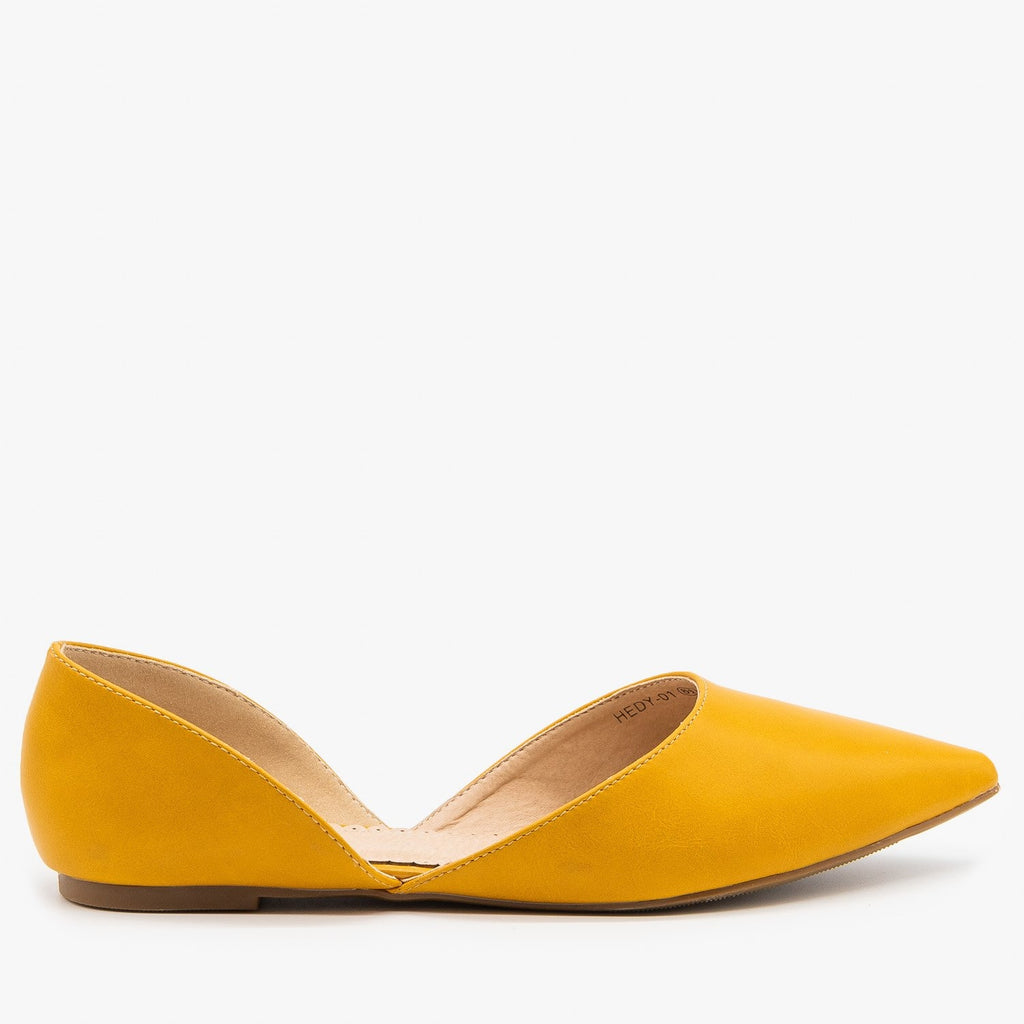 Womens Classic Pointed Toe dOrsay Flats - Refresh - Mustard / 5