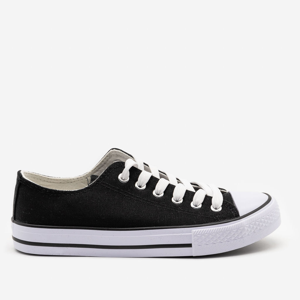 Women's Classic Sporty Canvas Sneakers - Top Moda - Black / 5