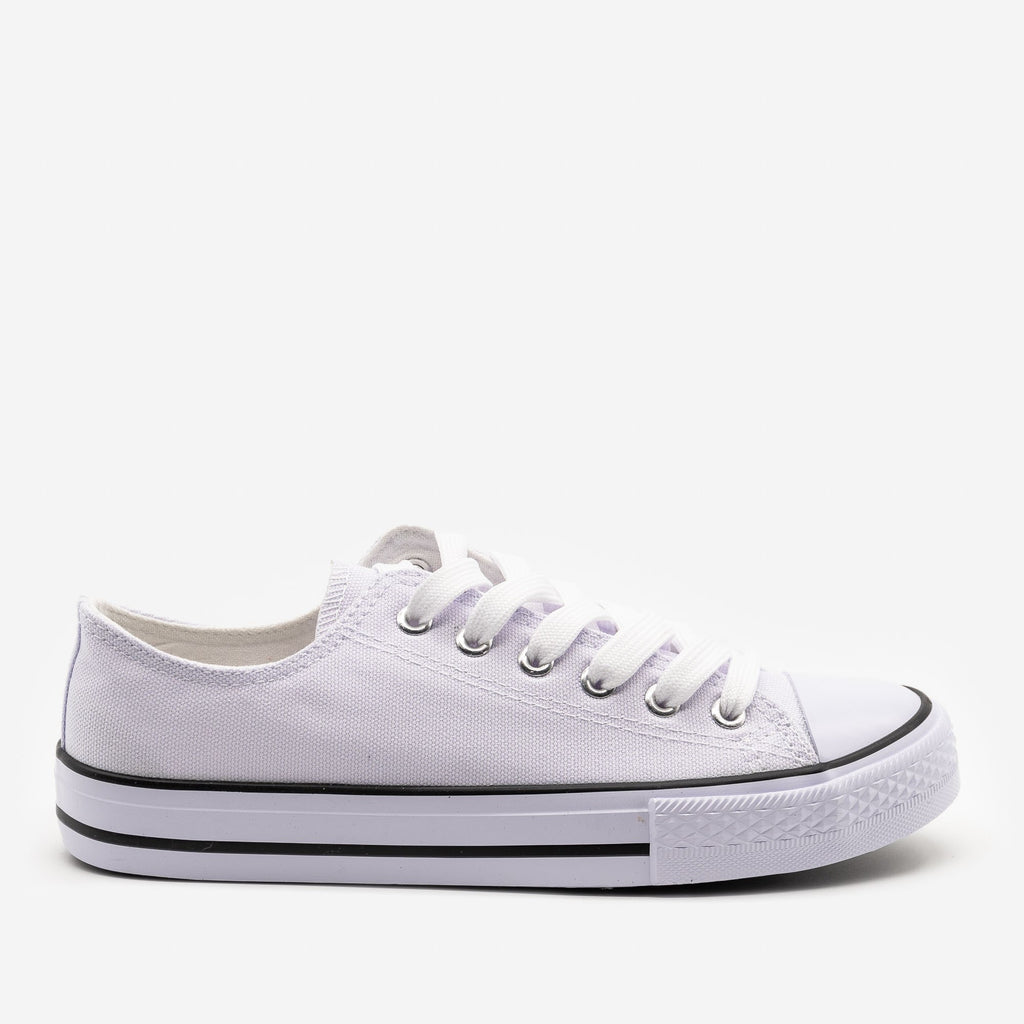 Women's Classic Sporty Canvas Sneakers - Top Moda - White / 5