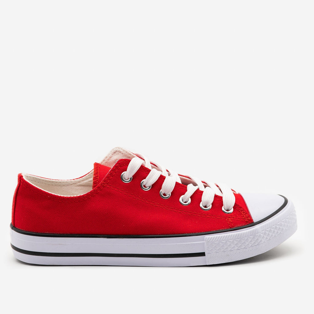 Women's Classic Sporty Canvas Sneakers - Top Moda - Red / 5