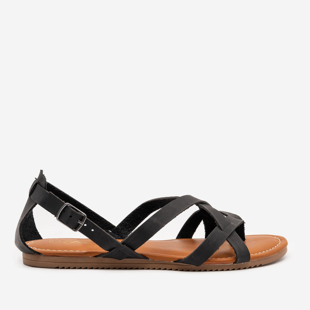 Women's Classic Strappy Summer Sandals - Forever - Black / 5