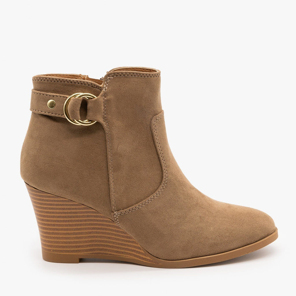 Womens Classic Wedge Booties - Qupid Shoes - Taupe / 5