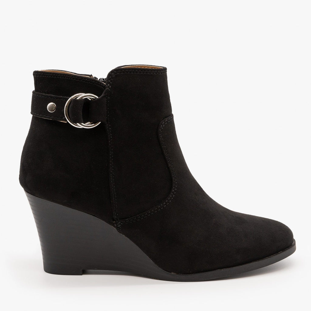 Womens Classic Wedge Booties - Qupid Shoes - Black / 5