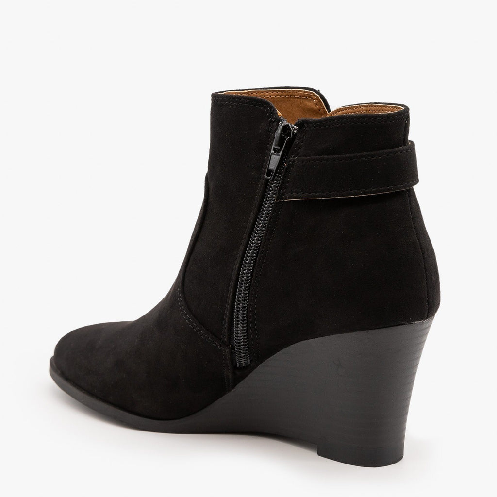Womens Classic Wedge Booties - Qupid Shoes
